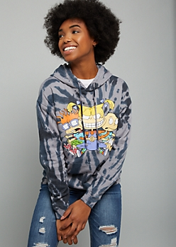 Black Tie Dye Rugrats Oversized Graphic Hoodie