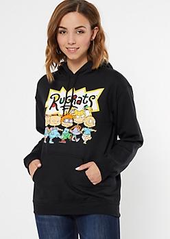 Black Rugrats Logo Graphic Hoodie