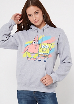Gray Painted SpongeBob Graphic Hoodie