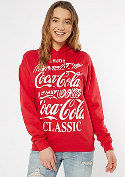 Red Coca Cola Graphic Hoodie