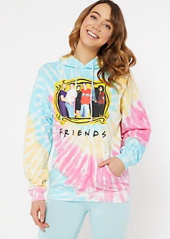 Pastel Tie Dye Friends Graphic Hoodie