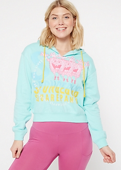 Teal SpongeBob Cropped Graphic Hoodie