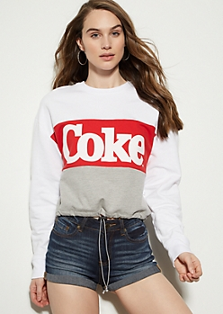 Red Colorblock Coke Drawstring Graphic Sweatshirt