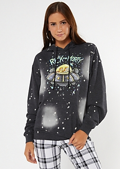 Black Bleach Splatter Rick and Morty Hoodie