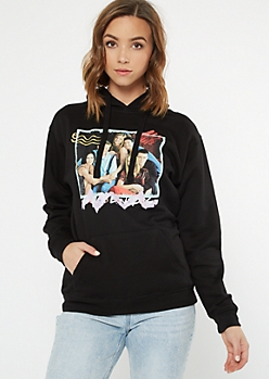 Black Retro Doodle Friends Graphic Hoodie