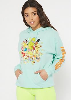 Mint Nickelodeon Toons Graphic Hoodie