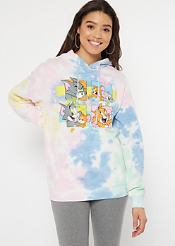 Pastel Tie Dye Tom And Jerry Graphic Hoodie