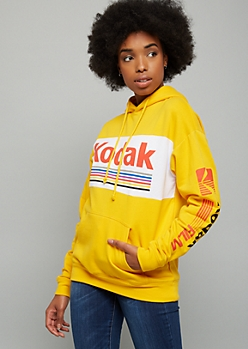 Mustard Colorblock Kodak Racing Fleece Graphic Hoodie