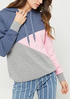 Pink Asymmetrical Color Block Hoodie