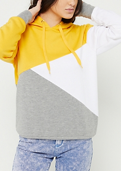 Yellow Asymmetrical Color Block Hoodie