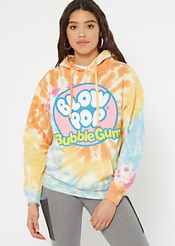 Rainbow Tie Dye Blow Pop Graphic Hoodie