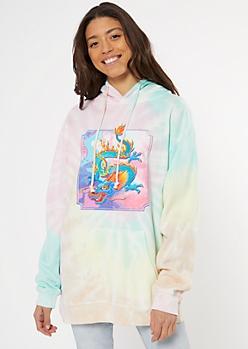 Pastel Tie Dye Dragon Graphic Hoodie
