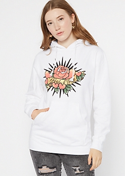 White Rose Fool For Love Graphic Hoodie