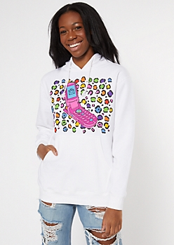 White Cheetah Print Y2K Cell Graphic Hoodie