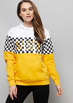 1031f9e0dd Black Checkered Print Colorblock Sassy Graphic Hoodie