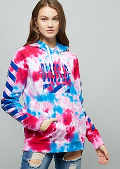 Bright Tie Dye Split Blessed Striped Graphic Hoodie