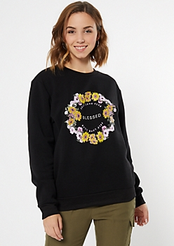 Black Floral Print Blessed Graphic Pullover