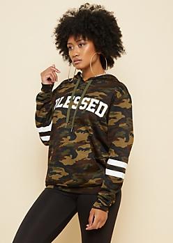 Camo Print Blessed Athletic Stripe Hoodie
