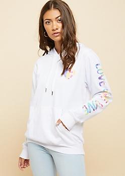 White Repeated Tie Dye Love Sleeve Hoodie