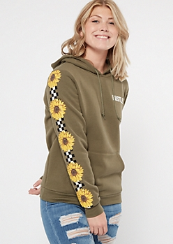 Olive Checkered Sunflower Print Hustle Graphic Hoodie