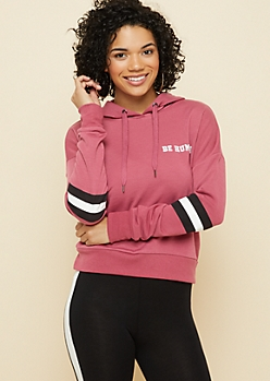 Pink Be Humble Striped Arm Hoodie