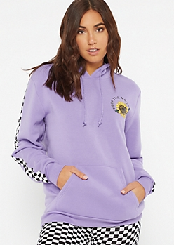 Lavender Mood Sunflower Fleece Graphic Hoodie