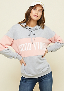 Heather Gray Colorblock Good Vibes Pullover Hoodie