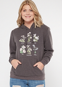 Gray Wildflower Chart Graphic Hoodie
