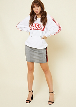 White Checkerboard Sassy Pullover Hoodie