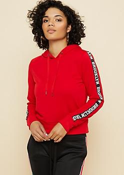Red Brooklyn Sleeve Tape Hoodie