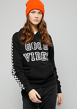 Black Good Vibes Checkered Print Sleeve Hoodie