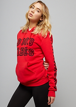 Red Good Vibes Checkered Print Graphic Hoodie