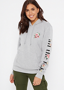 Gray All The Feels Floral Print Fleece Graphic Hoodie