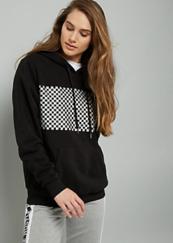 Black Metallic Checkered Print Graphic Hoodie