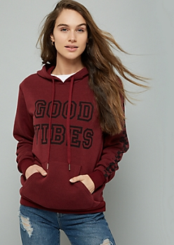 Burgundy Good Vibes Checkered Print Side Striped Hoodie