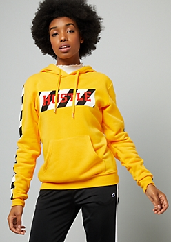 Yellow Hustle Side Striped Oversized Graphic Hoodie