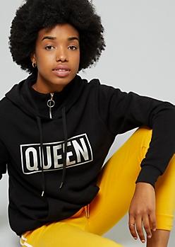 Black Metallic Queen Graphic Pullover Hoodie