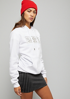 White Outlined Metallic Sassy Hoodie