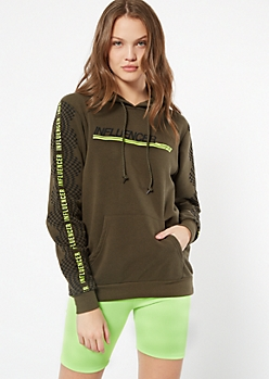 Olive Influencer Checkered Print Fleece Hoodie