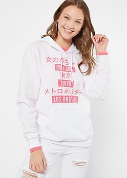 White Kanji Baby Girl Graphic Hoodie