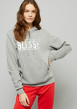 Gray Metallic Blessed Oversized Fleece Hoodie