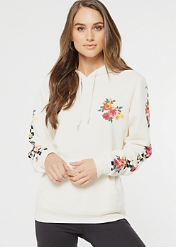 Ivory Checkered Floral Print Graphic Hoodie