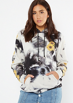 Black Tie Dye Checkered Sunflower Print Hoodie