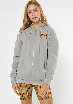 Heather Gray Antisocial Butterfly Zip Up Hoodie