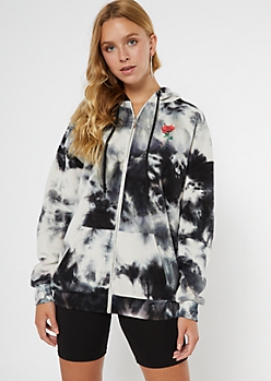 Black Tie Dye Limited Edition Rose Zip Up Hoodie