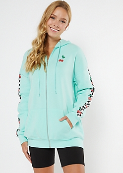 Mint Checkered Cherry Print Zip Up Hoodie