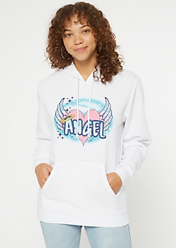 White Airbrush Angel Heart Hoodie
