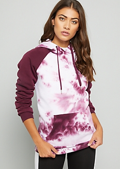 Purple Tie Dye Love Longline Fleece Hoodie