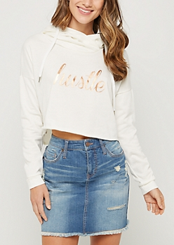 White Gold Foil Hustle Cropped Hoodie