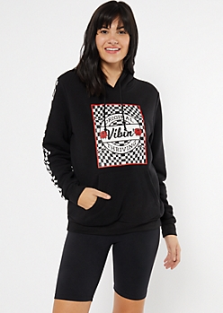Black Checkered Print Vibin Graphic Hoodie